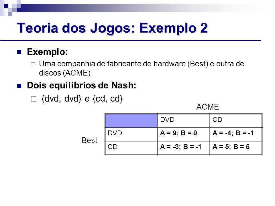 Teoria dos Jogos: Exemplo 2 Exemplo:  Uma companhia de fabricante de hardware (Best) e outra de discos (ACME) Dois equilibrios de Nash:  {dvd, dvd} e {cd, cd} Best ACME DVDCD DVDA = 9; B = 9A = -4; B = -1 CDA = -3; B = -1A = 5; B = 5