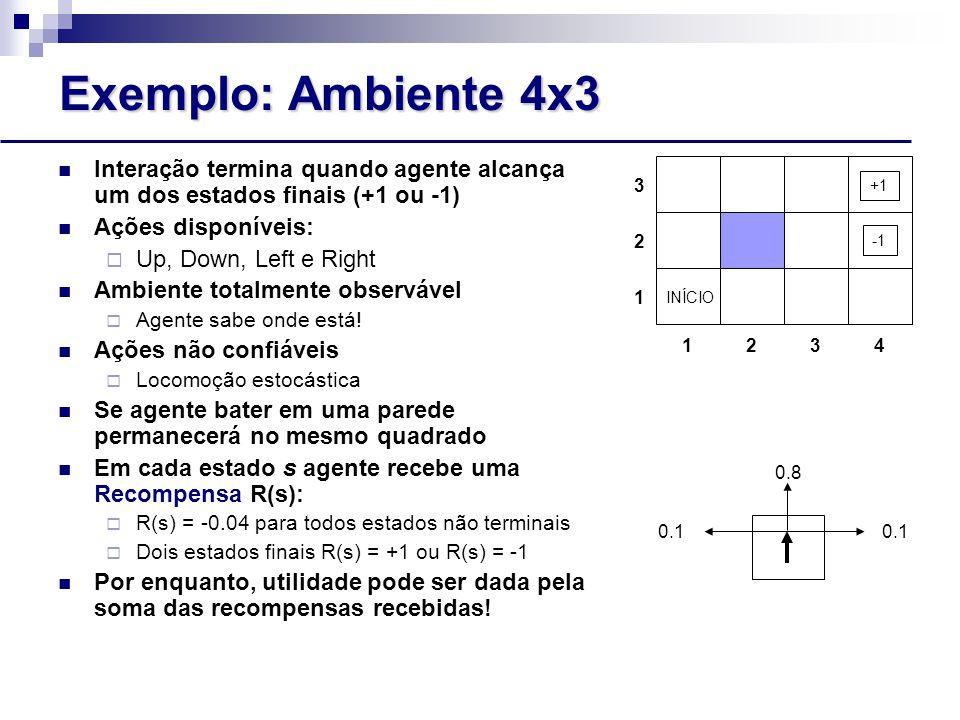 Exemplo: Ambiente 4x3 Interação termina quando agente alcança um dos estados finais (+1 ou -1) Ações disponíveis:  Up, Down, Left e Right Ambiente totalmente observável  Agente sabe onde está.