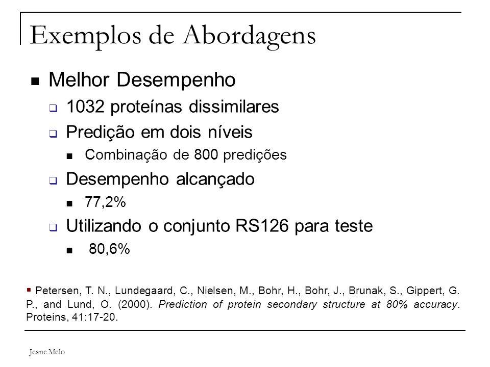 Jeane Melo Exemplos de Abordagens Melhor Desempenho  1032 proteínas dissimilares  Predição em dois níveis Combinação de 800 predições  Desempenho a