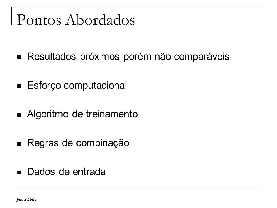 Jeane Melo Pontos Abordados Resultados próximos porém não comparáveis Esforço computacional Algoritmo de treinamento Regras de combinação Dados de ent