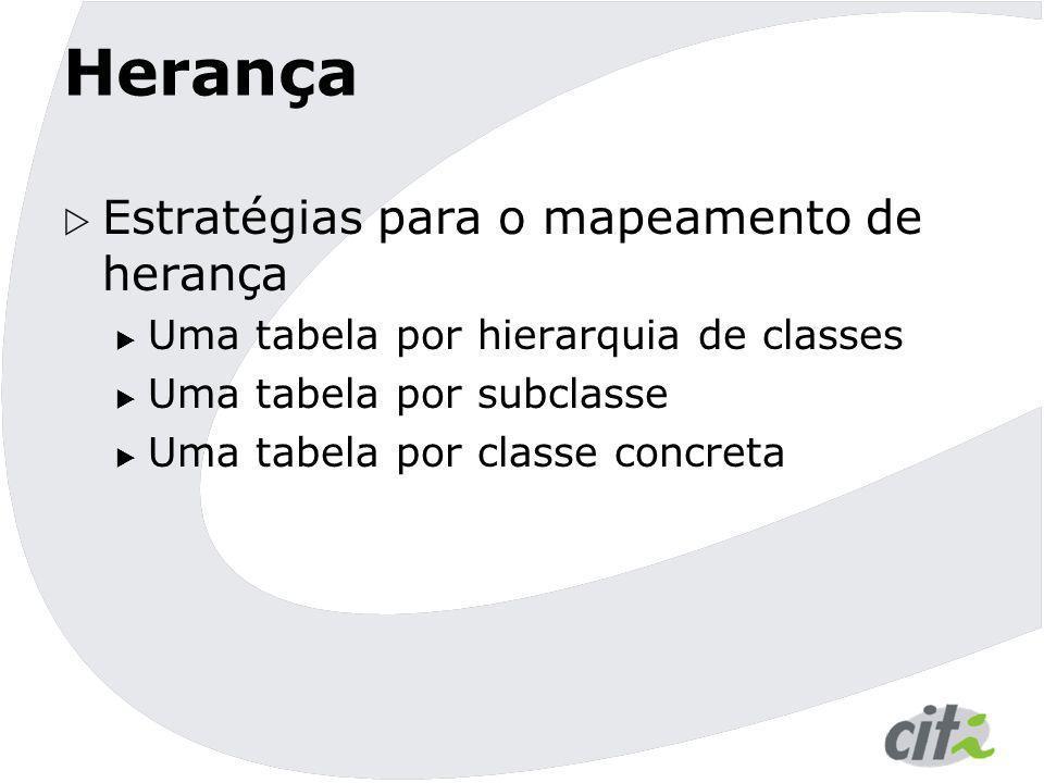 Herança  Estratégias para o mapeamento de herança  Uma tabela por hierarquia de classes  Uma tabela por subclasse  Uma tabela por classe concreta