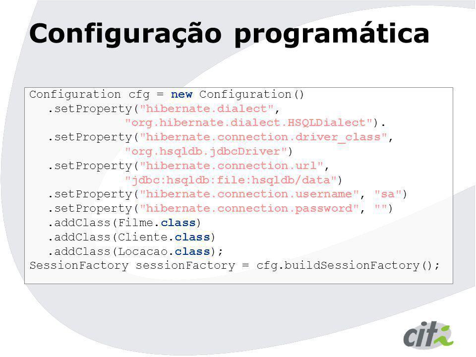 Configuração programática Configuration cfg = new Configuration().setProperty(