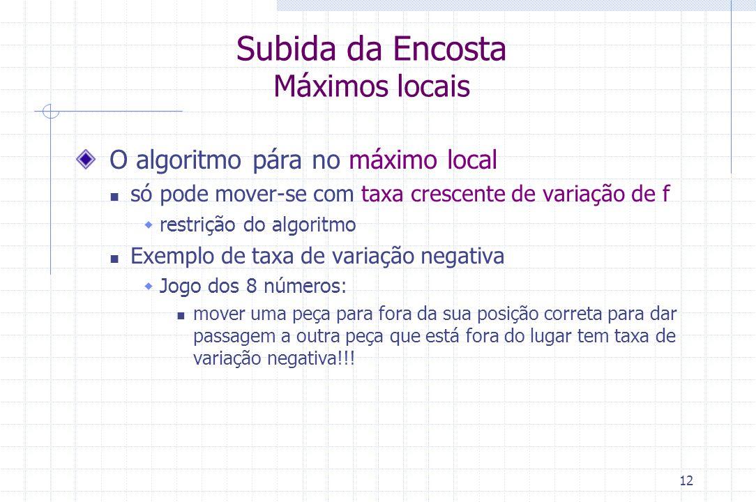 12 Subida da Encosta Máximos locais O algoritmo pára no máximo local só pode mover-se com taxa crescente de variação de f  restrição do algoritmo Exe