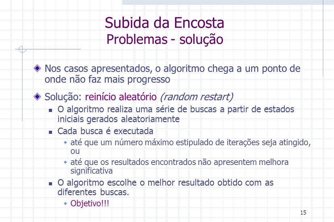 15 Subida da Encosta Problemas - solução Nos casos apresentados, o algoritmo chega a um ponto de onde não faz mais progresso Solução: reinício aleatór