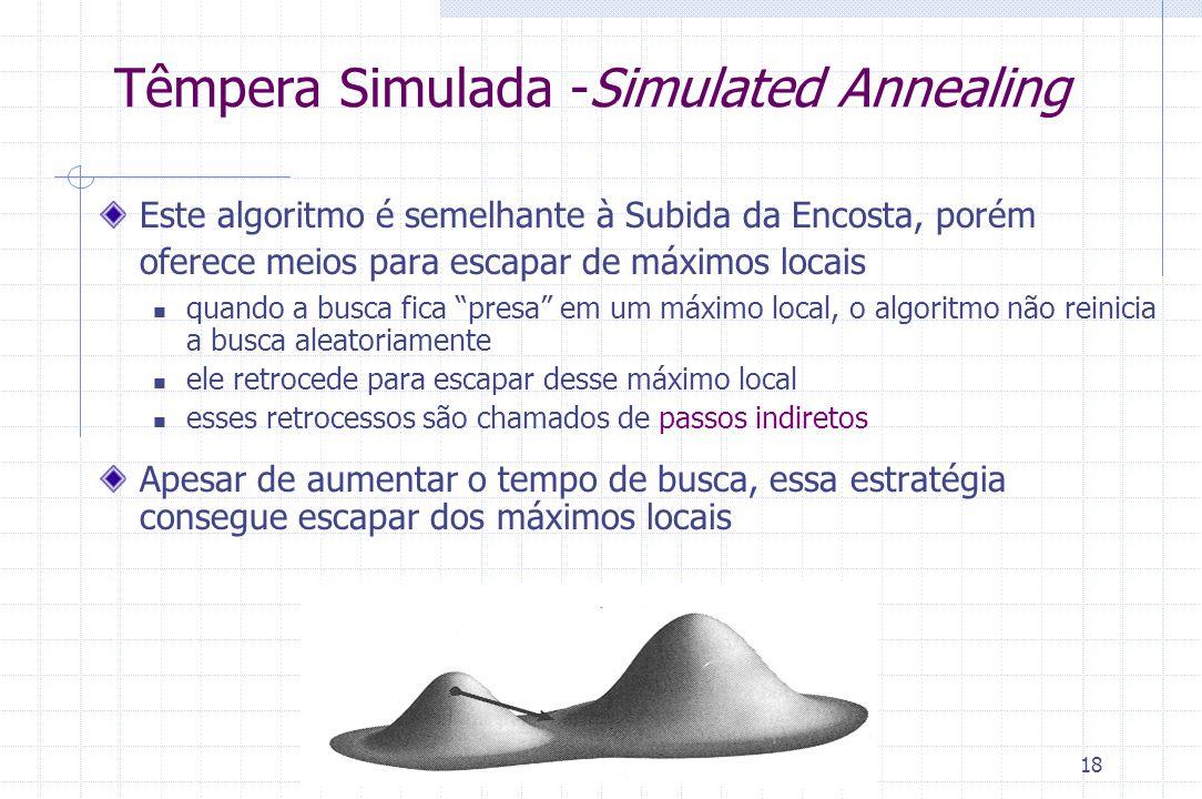 18 Têmpera Simulada -Simulated Annealing Este algoritmo é semelhante à Subida da Encosta, porém oferece meios para escapar de máximos locais quando a