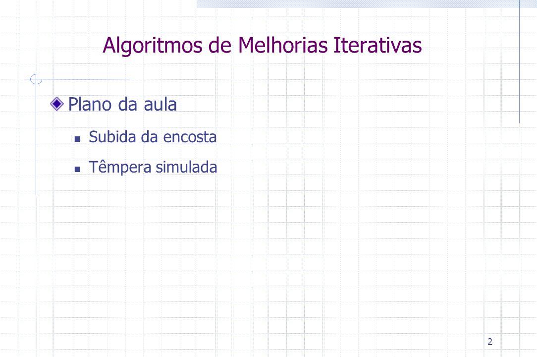 2 Algoritmos de Melhorias Iterativas Plano da aula Subida da encosta Têmpera simulada