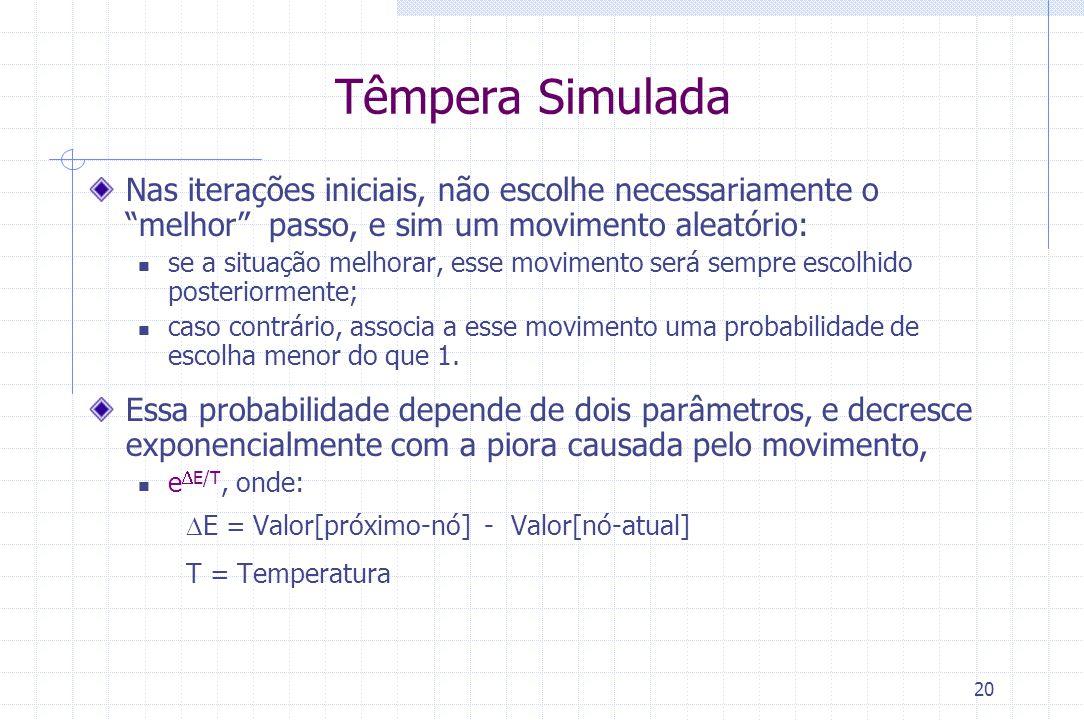 """20 Têmpera Simulada Nas iterações iniciais, não escolhe necessariamente o """"melhor"""" passo, e sim um movimento aleatório: se a situação melhorar, esse m"""