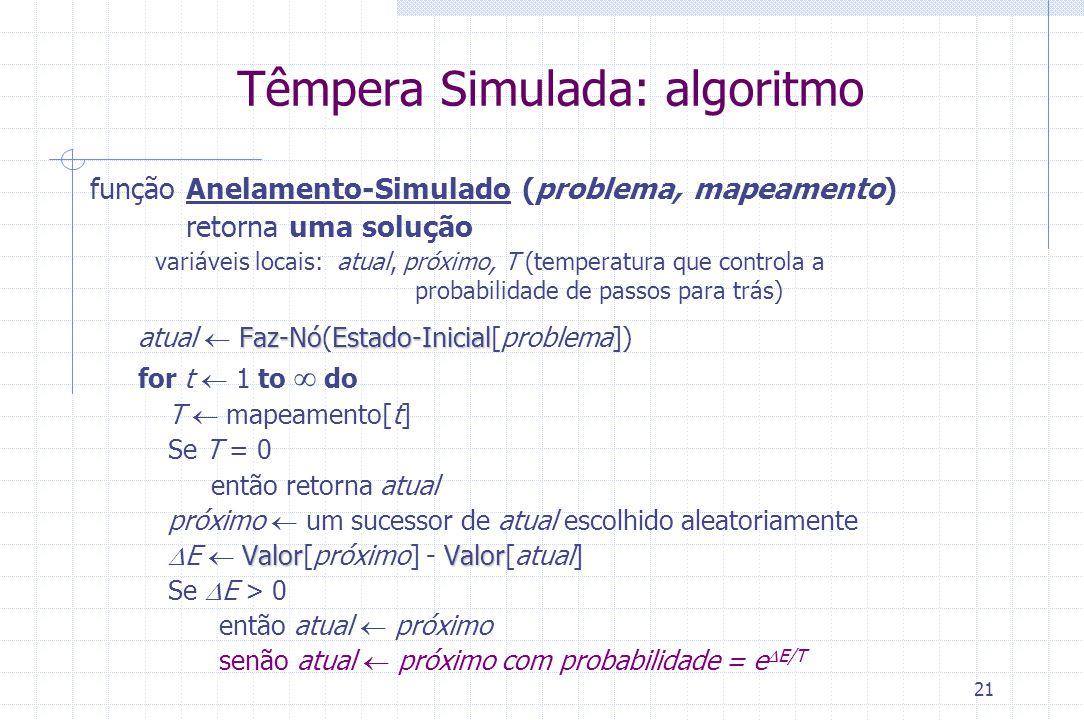 21 Têmpera Simulada: algoritmo função Anelamento-Simulado (problema, mapeamento) retorna uma solução variáveis locais: atual, próximo, T (temperatura