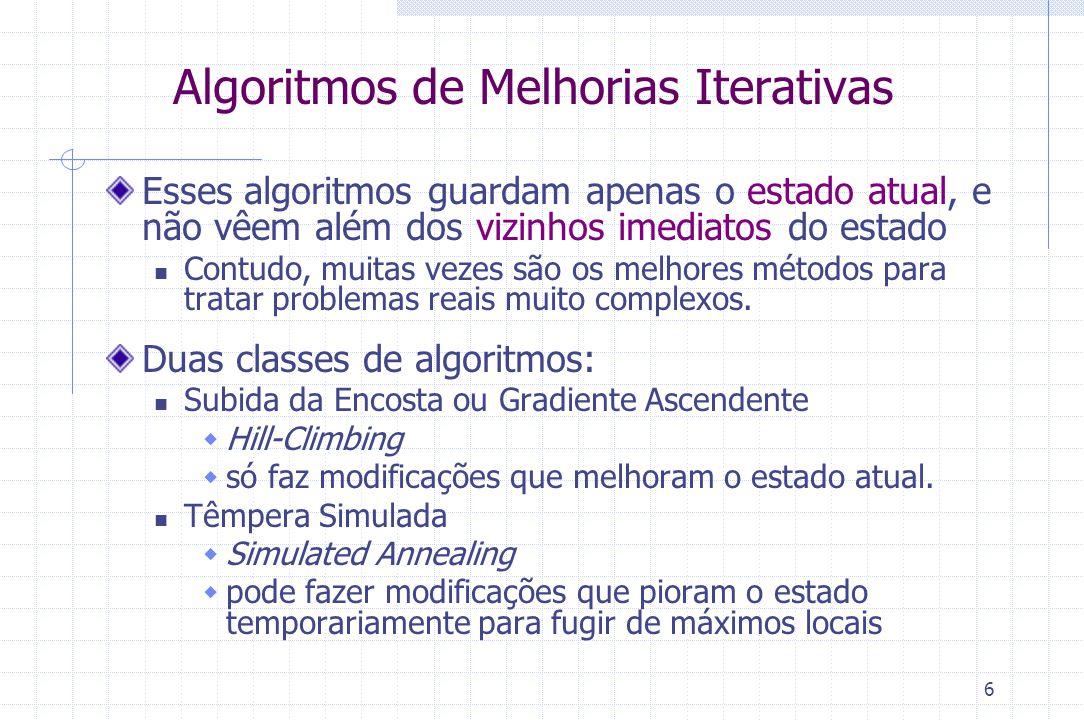 6 Algoritmos de Melhorias Iterativas Esses algoritmos guardam apenas o estado atual, e não vêem além dos vizinhos imediatos do estado Contudo, muitas