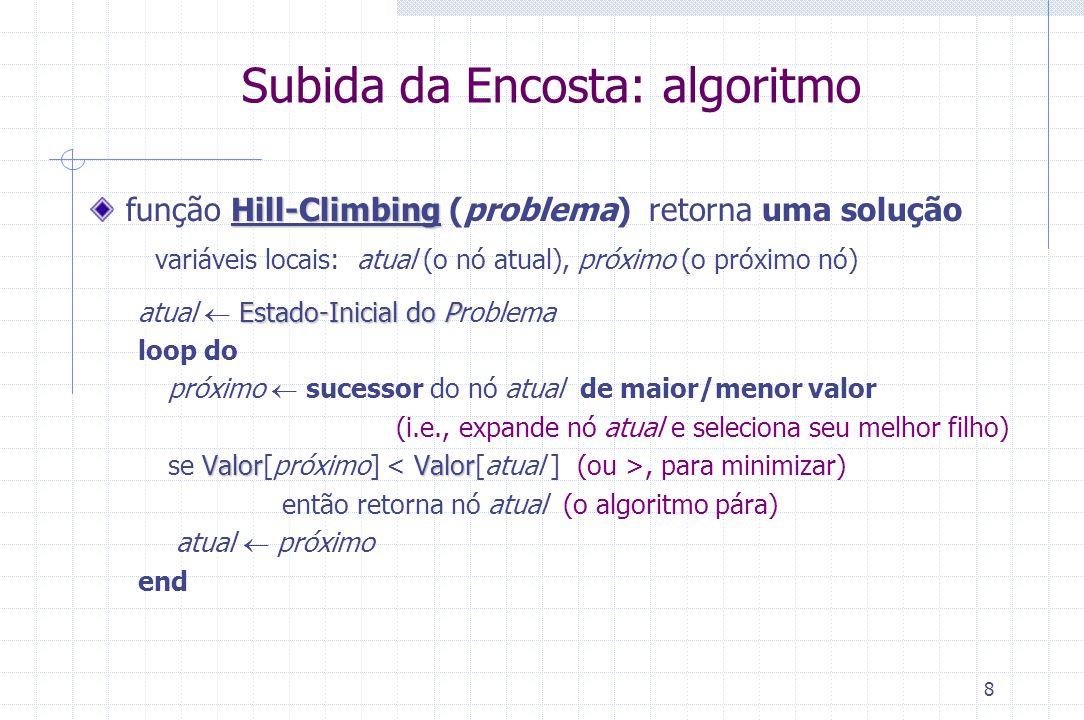 8 Subida da Encosta: algoritmo Hill-Climbing função Hill-Climbing (problema) retorna uma solução variáveis locais: atual (o nó atual), próximo (o próx