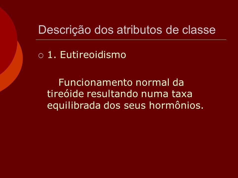 Descrição dos atributos de classe  1. Eutireoidismo Funcionamento normal da tireóide resultando numa taxa equilibrada dos seus hormônios.