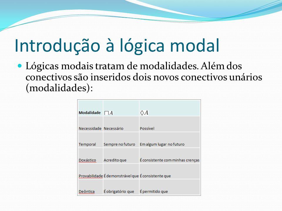 Introdução à lógica modal Lógicas modais tratam de modalidades.