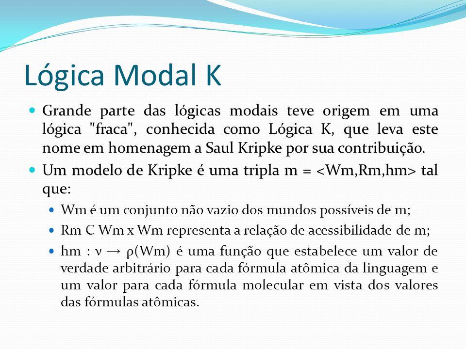 Lógica Modal K Grande parte das lógicas modais teve origem em uma lógica fraca , conhecida como Lógica K, que leva este nome em homenagem a Saul Kripke por sua contribuição.