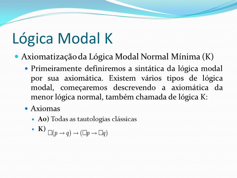 Lógica Modal K Axiomatização da Lógica Modal Normal Mínima (K) Primeiramente definiremos a sintática da lógica modal por sua axiomática.