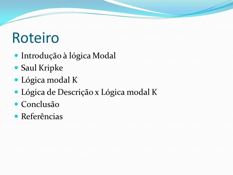 Roteiro Introdução à lógica Modal Saul Kripke Lógica modal K Lógica de Descrição x Lógica modal K Conclusão Referências