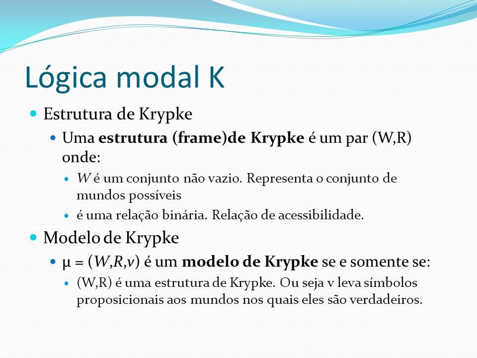 Lógica modal K Estrutura de Krypke Uma estrutura (frame)de Krypke é um par (W,R) onde: W é um conjunto não vazio.