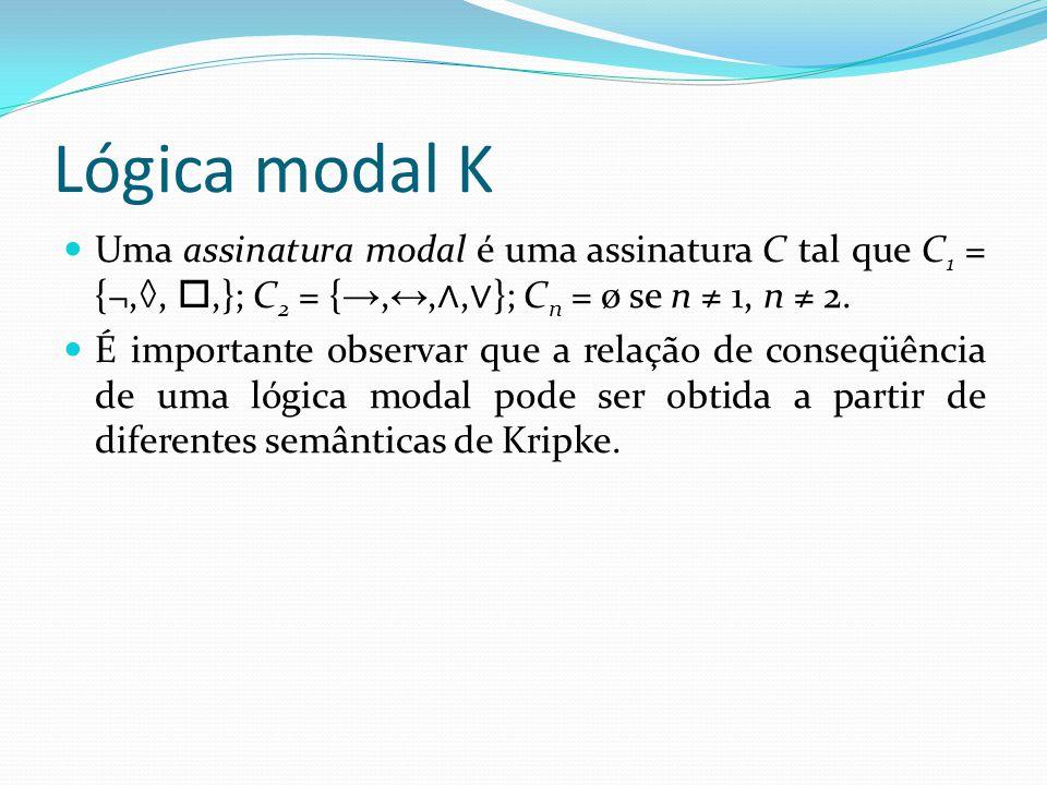 Lógica modal K Uma assinatura modal é uma assinatura C tal que C 1 = {¬,◊, ,}; C 2 = { →, ↔, ∧, ∨ }; C n = ø se n ≠ 1, n ≠ 2.
