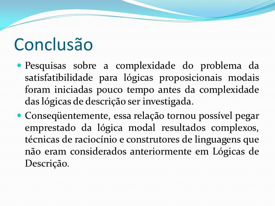 Conclusão Pesquisas sobre a complexidade do problema da satisfatibilidade para lógicas proposicionais modais foram iniciadas pouco tempo antes da complexidade das lógicas de descrição ser investigada.