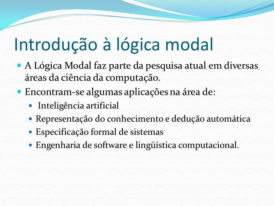 Introdução à lógica modal A Lógica Modal faz parte da pesquisa atual em diversas áreas da ciência da computação.