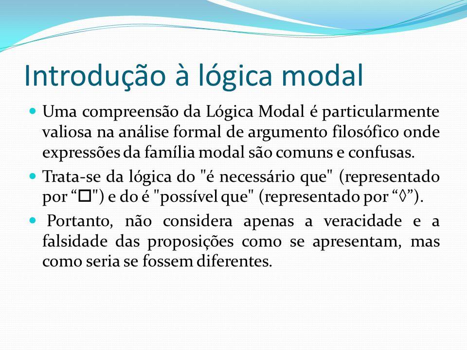Introdução à lógica modal Uma compreensão da Lógica Modal é particularmente valiosa na análise formal de argumento filosófico onde expressões da família modal são comuns e confusas.