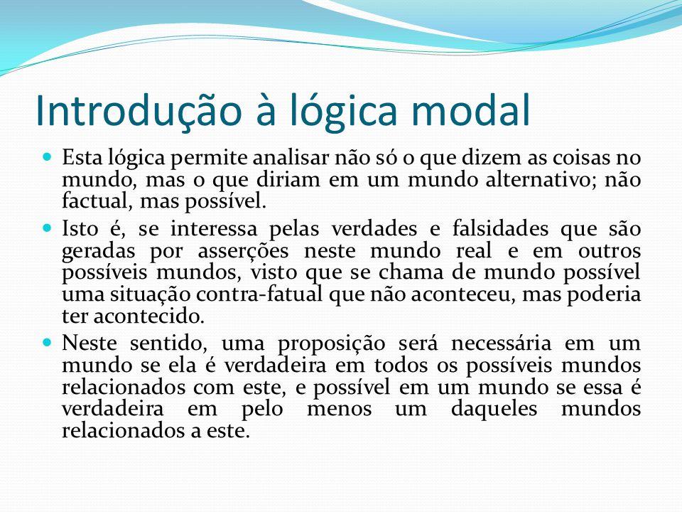 Introdução à lógica modal Esta lógica permite analisar não só o que dizem as coisas no mundo, mas o que diriam em um mundo alternativo; não factual, mas possível.
