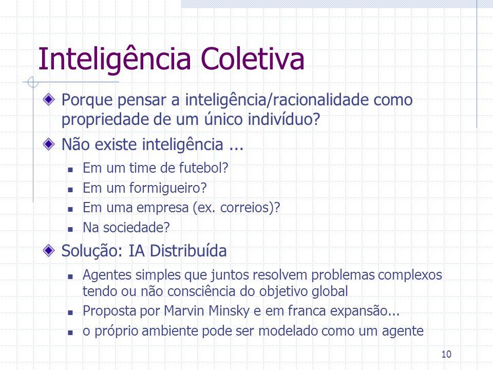 10 Inteligência Coletiva Porque pensar a inteligência/racionalidade como propriedade de um único indivíduo? Não existe inteligência... Em um time de f