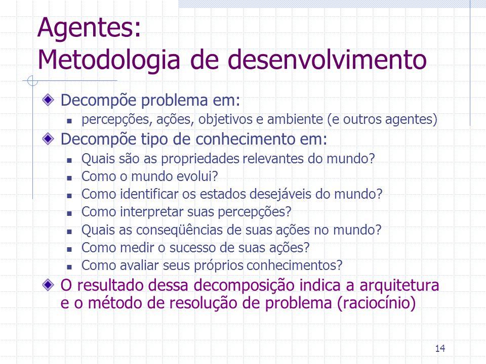14 Agentes: Metodologia de desenvolvimento Decompõe problema em: percepções, ações, objetivos e ambiente (e outros agentes) Decompõe tipo de conhecimento em: Quais são as propriedades relevantes do mundo.