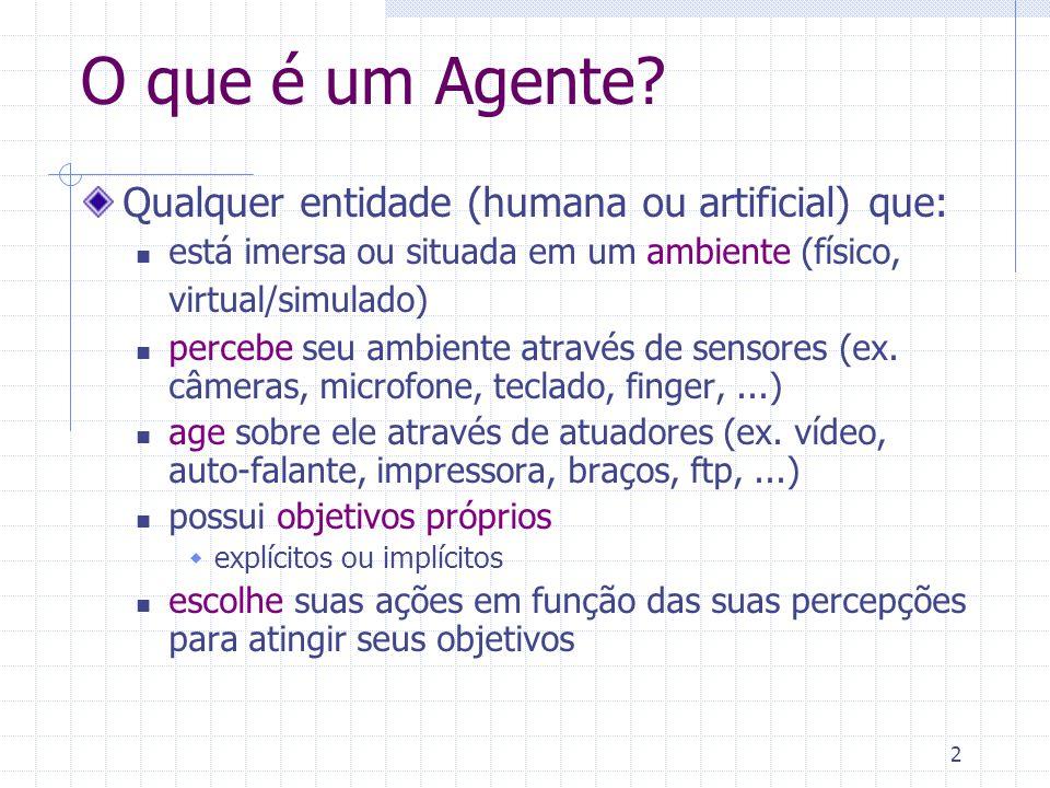 2 O que é um Agente? Qualquer entidade (humana ou artificial) que: está imersa ou situada em um ambiente (físico, virtual/simulado) percebe seu ambien