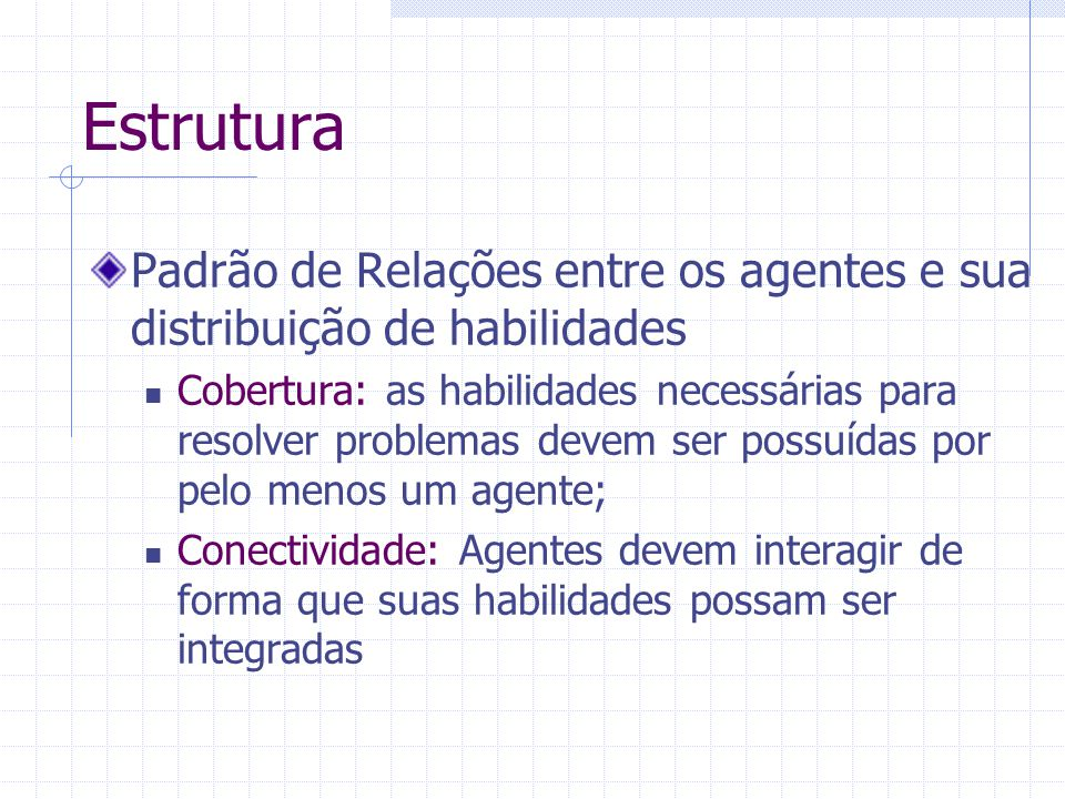 Estrutura Padrão de Relações entre os agentes e sua distribuição de habilidades Cobertura: as habilidades necessárias para resolver problemas devem se