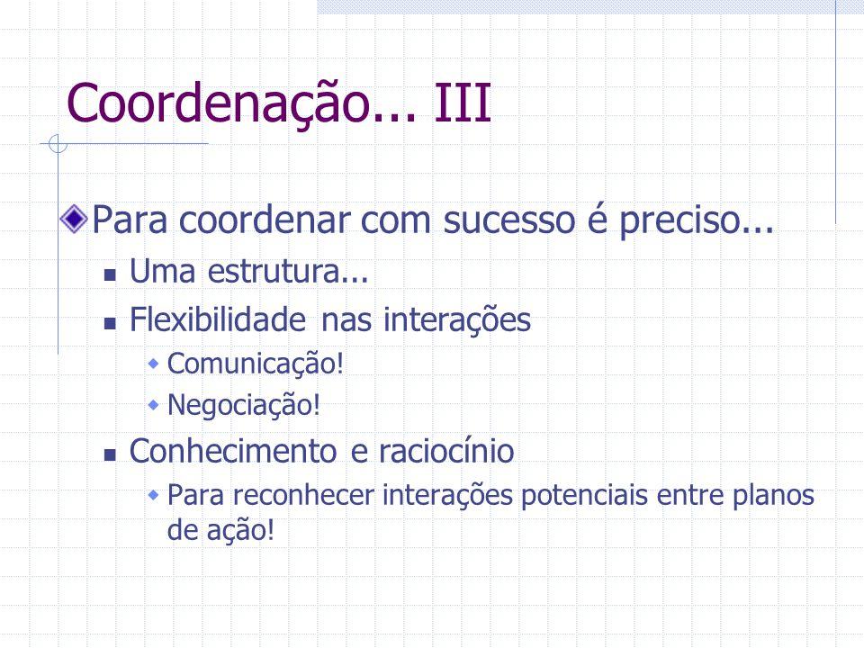 Coordenação... III Para coordenar com sucesso é preciso... Uma estrutura... Flexibilidade nas interações  Comunicação!  Negociação! Conhecimento e r