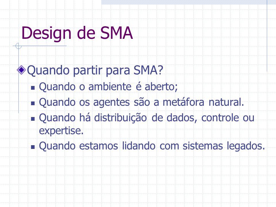 Design de SMA Quando partir para SMA? Quando o ambiente é aberto; Quando os agentes são a metáfora natural. Quando há distribuição de dados, controle