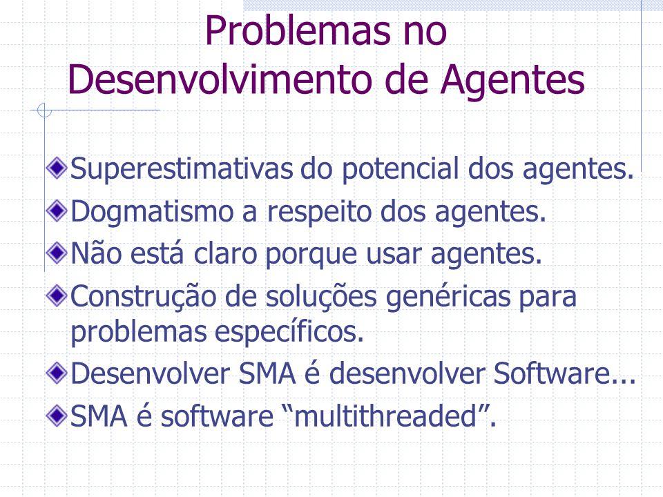 Problemas no Desenvolvimento de Agentes Superestimativas do potencial dos agentes. Dogmatismo a respeito dos agentes. Não está claro porque usar agent