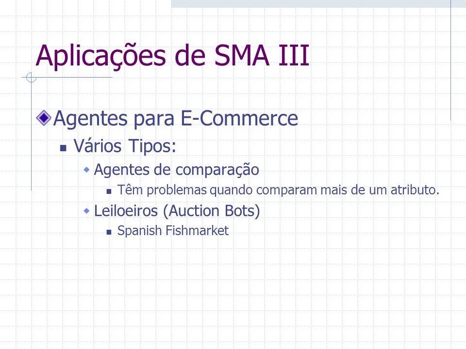 Aplicações de SMA III Agentes para E-Commerce Vários Tipos:  Agentes de comparação Têm problemas quando comparam mais de um atributo.  Leiloeiros (A