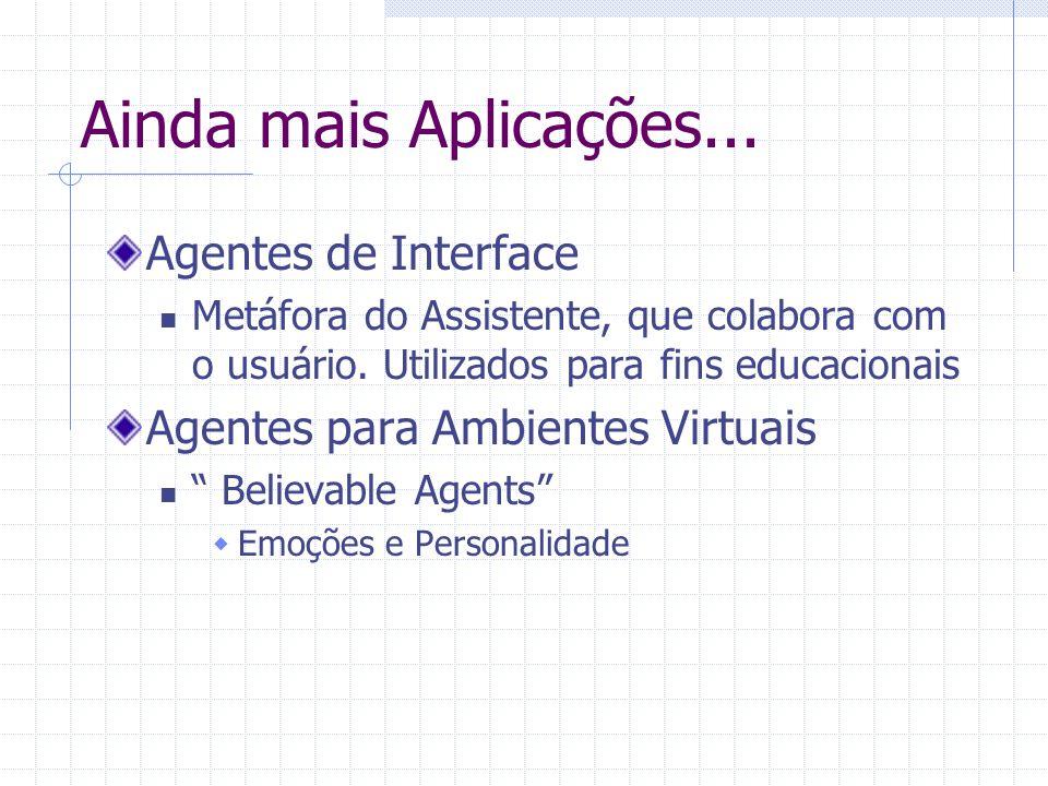 Ainda mais Aplicações... Agentes de Interface Metáfora do Assistente, que colabora com o usuário. Utilizados para fins educacionais Agentes para Ambie