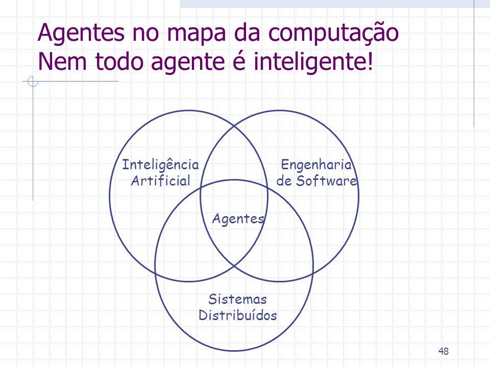 48 Agentes no mapa da computação Nem todo agente é inteligente! Inteligência Artificial Engenharia de Software Sistemas Distribuídos Agentes