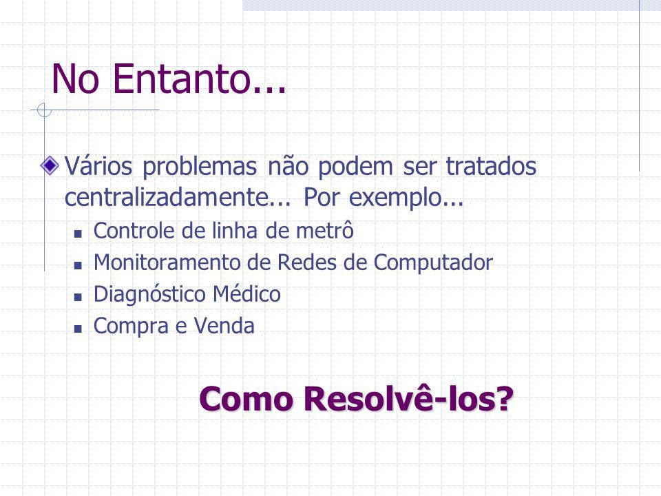 No Entanto... Vários problemas não podem ser tratados centralizadamente... Por exemplo... Controle de linha de metrô Monitoramento de Redes de Computa