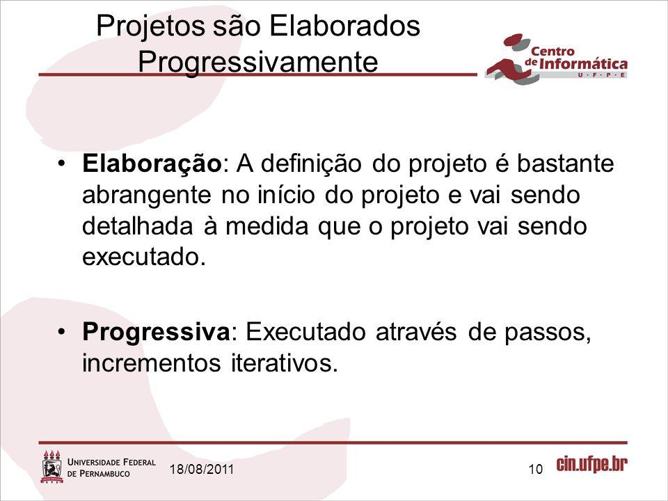 18/08/201110 Projetos são Elaborados Progressivamente Elaboração: A definição do projeto é bastante abrangente no início do projeto e vai sendo detalhada à medida que o projeto vai sendo executado.