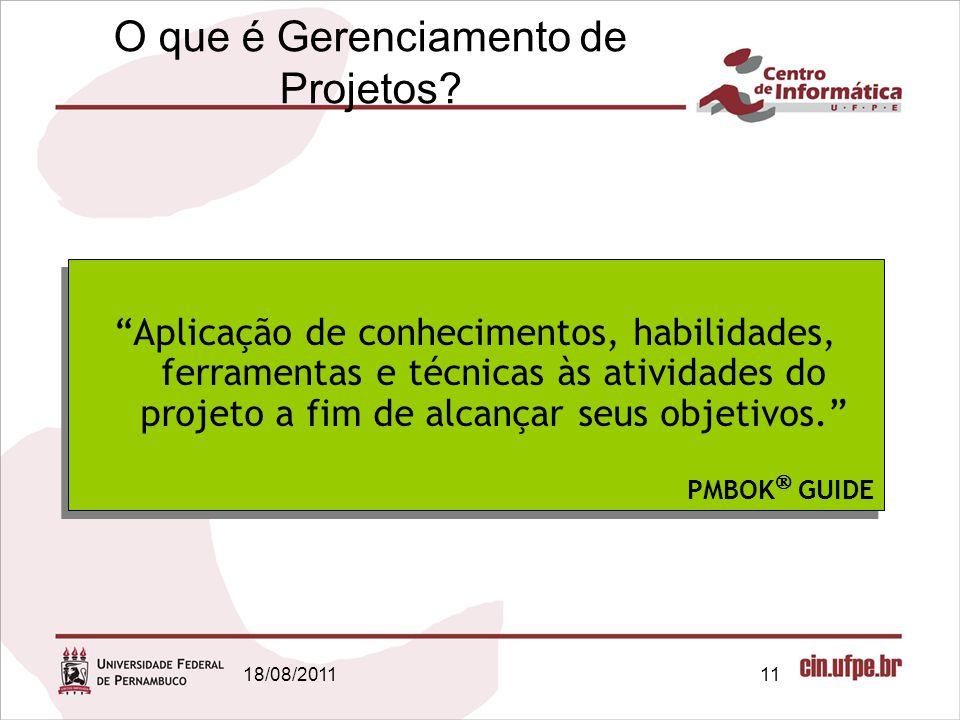 18/08/201111 O que é Gerenciamento de Projetos.
