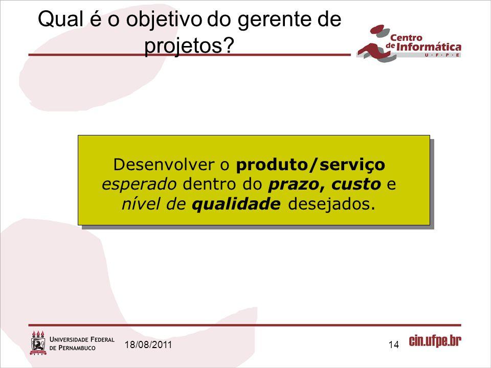 18/08/201114 Qual é o objetivo do gerente de projetos.