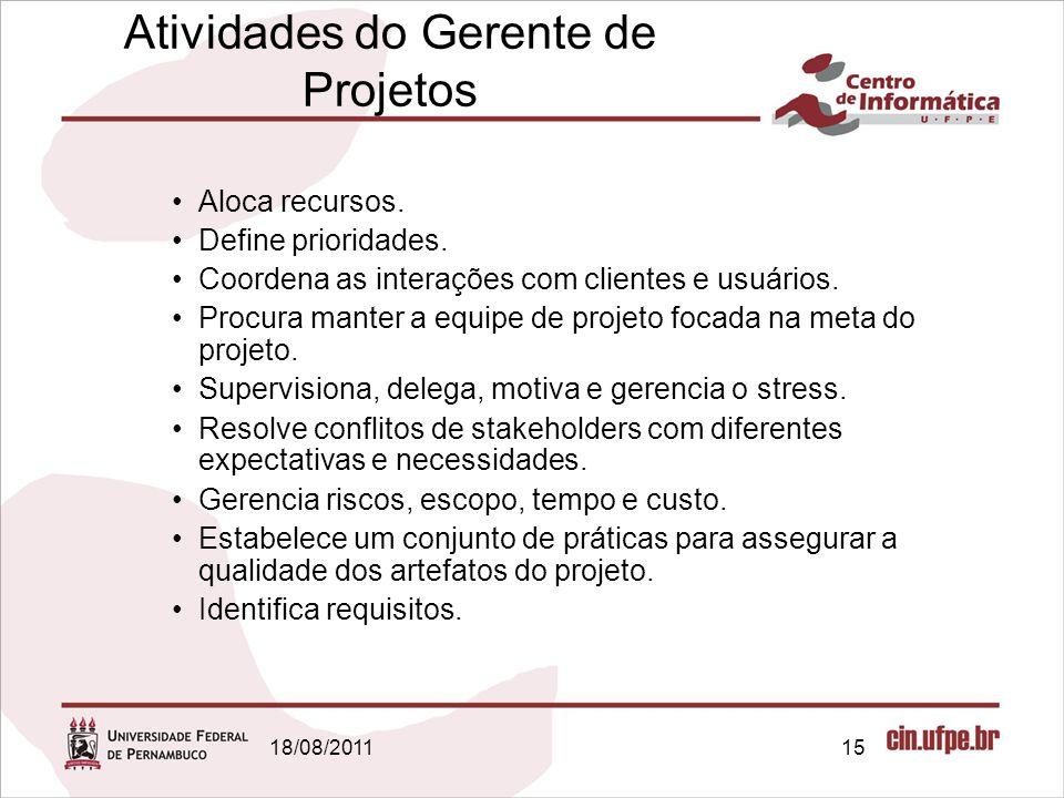 18/08/201115 Atividades do Gerente de Projetos Aloca recursos.