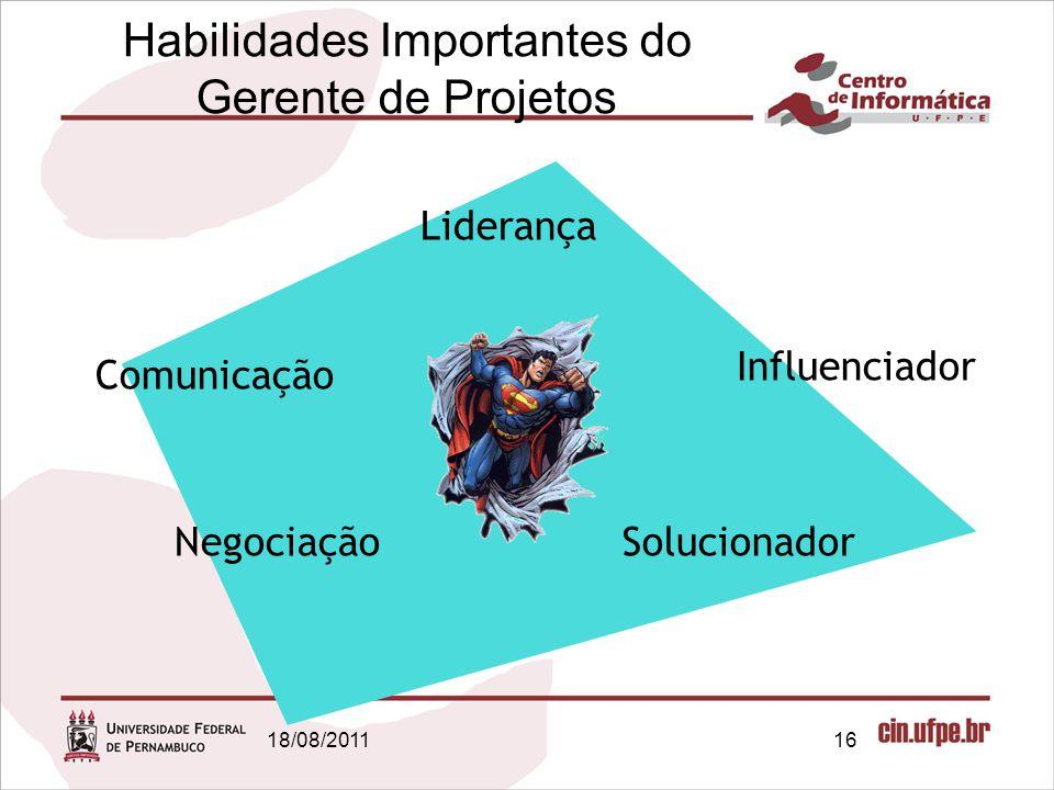 18/08/201116 Habilidades Importantes do Gerente de Projetos Liderança Comunicação NegociaçãoSolucionador Influenciador