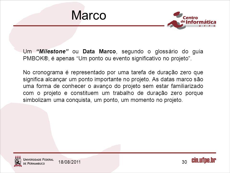 18/08/201130 Um Milestone ou Data Marco, segundo o glossário do guia PMBOK®, é apenas Um ponto ou evento significativo no projeto .