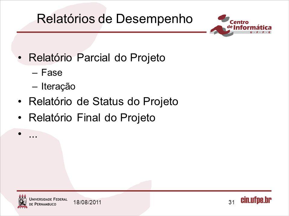 18/08/201131 Relatórios de Desempenho Relatório Parcial do Projeto –Fase –Iteração Relatório de Status do Projeto Relatório Final do Projeto...