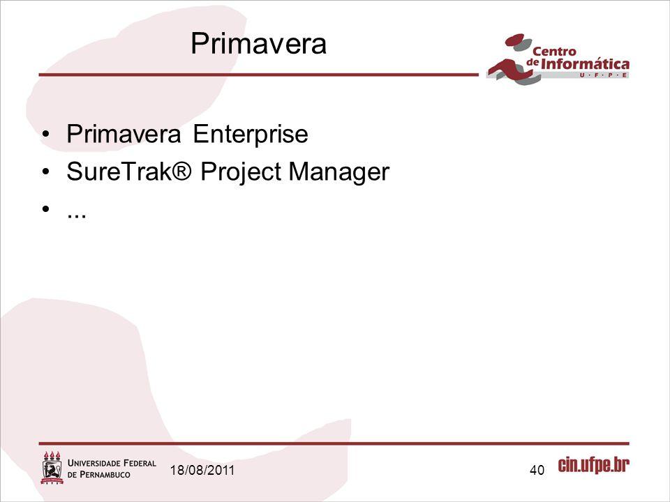 18/08/201140 Primavera Primavera Enterprise SureTrak® Project Manager...