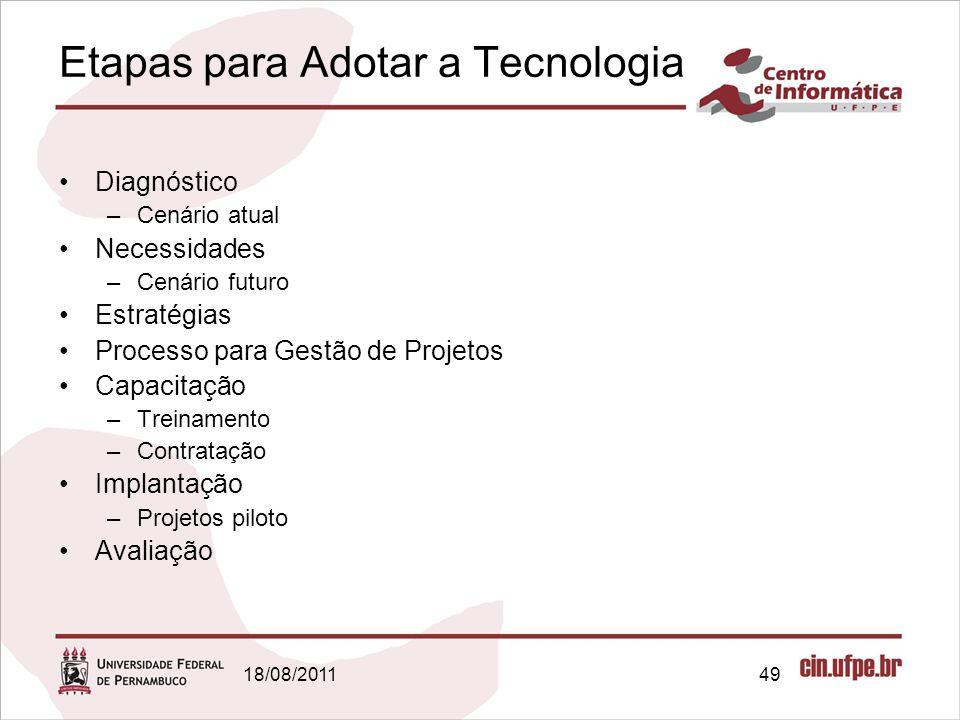 18/08/201149 Etapas para Adotar a Tecnologia Diagnóstico –Cenário atual Necessidades –Cenário futuro Estratégias Processo para Gestão de Projetos Capacitação –Treinamento –Contratação Implantação –Projetos piloto Avaliação