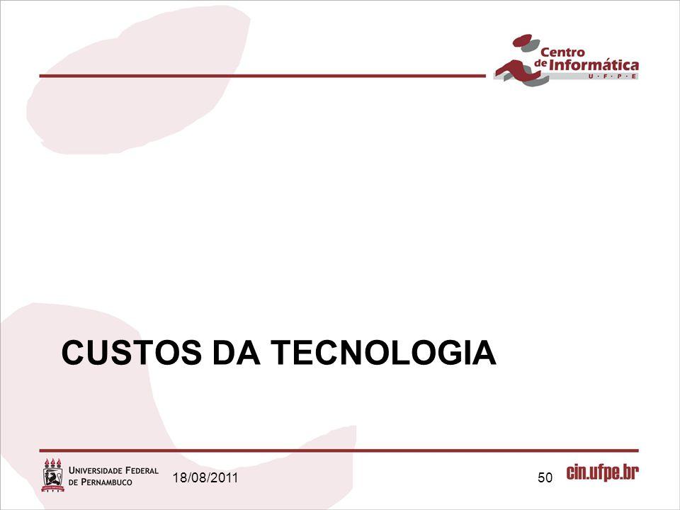 18/08/201150 CUSTOS DA TECNOLOGIA