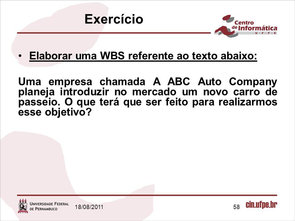 18/08/201158 Exercício Elaborar uma WBS referente ao texto abaixo: Uma empresa chamada A ABC Auto Company planeja introduzir no mercado um novo carro de passeio.