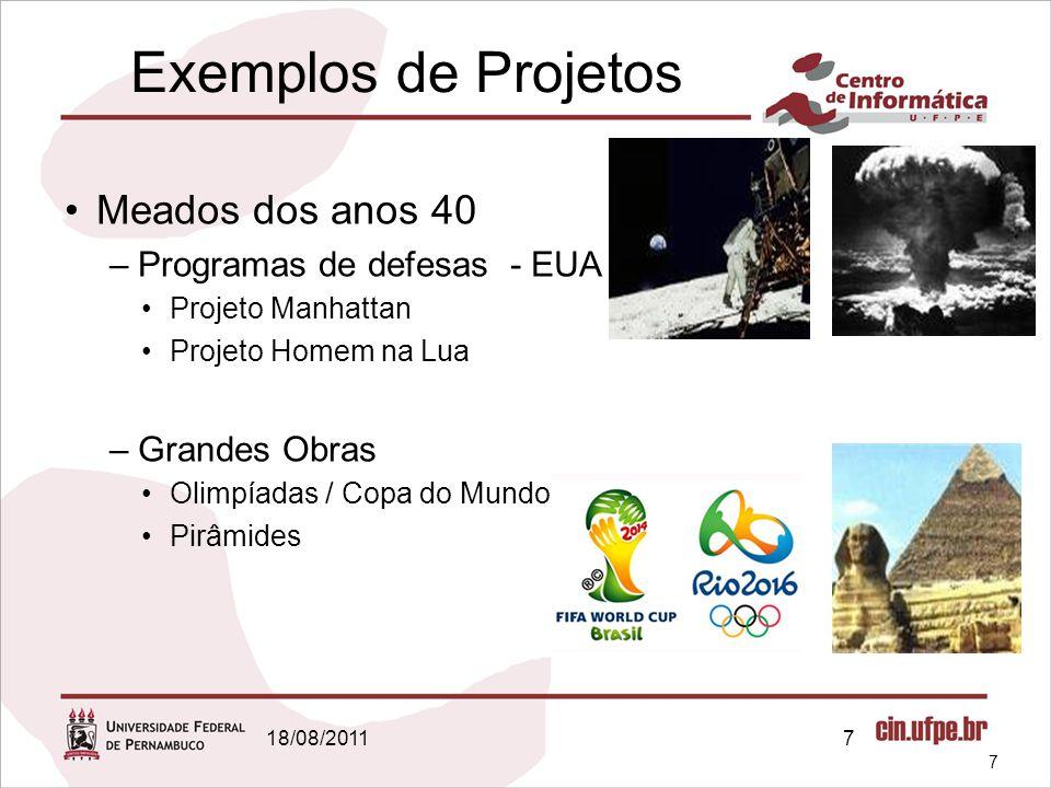 18/08/20117 Exemplos de Projetos Meados dos anos 40 –Programas de defesas - EUA Projeto Manhattan Projeto Homem na Lua –Grandes Obras Olimpíadas / Copa do Mundo Pirâmides 7