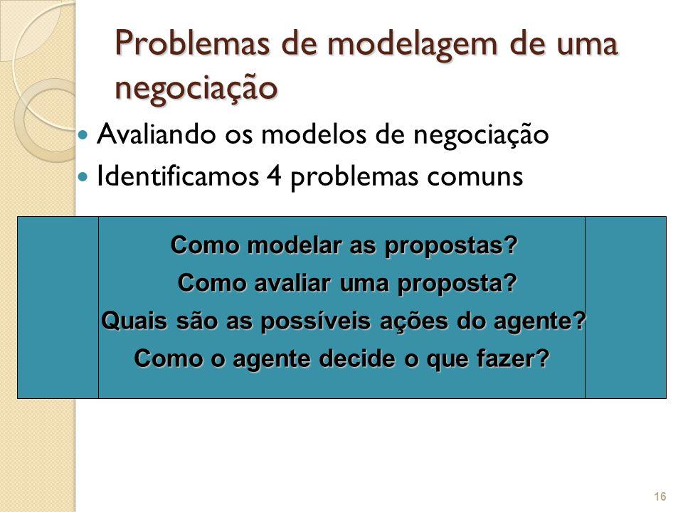 Problemas de modelagem de uma negociação Avaliando os modelos de negociação Identificamos 4 problemas comuns 16 Como modelar as propostas? Como avalia