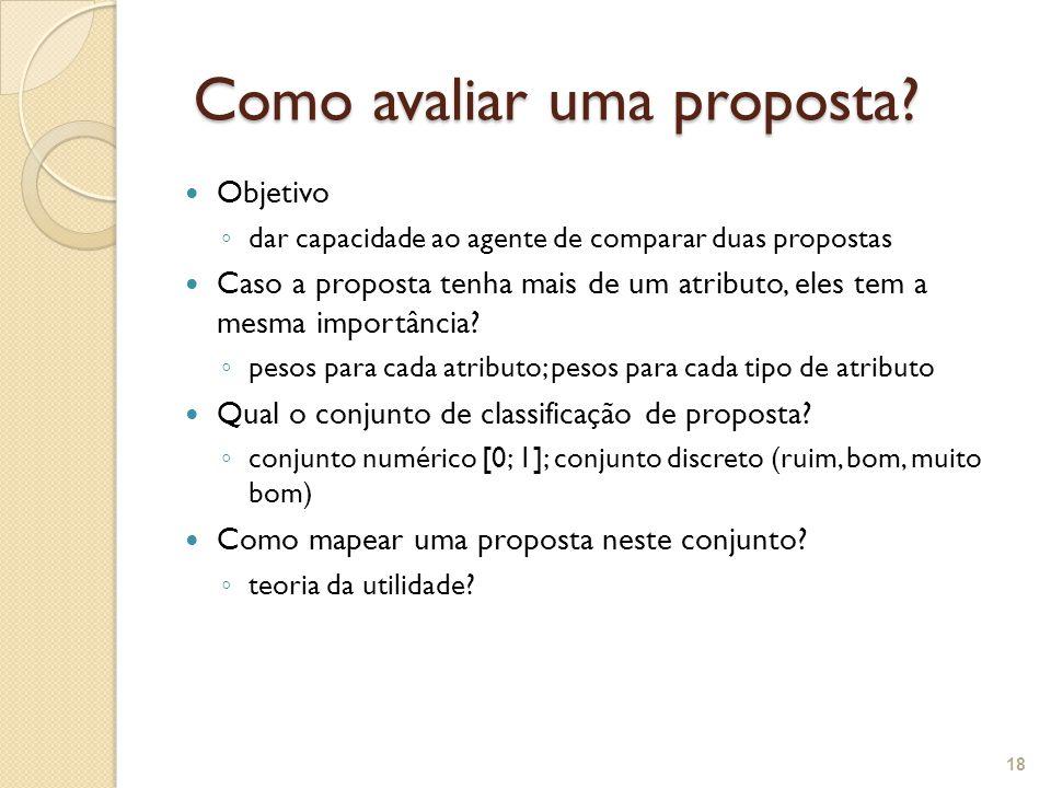Como avaliar uma proposta? Como avaliar uma proposta? Objetivo ◦ dar capacidade ao agente de comparar duas propostas Caso a proposta tenha mais de um